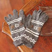Alpaca blend gloves, 'Gray Clouds' - Alpaca blend gloves