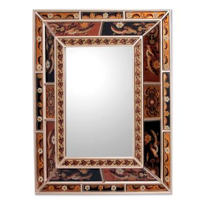 Artisan Crafted Reverse Painted Glass Mirror