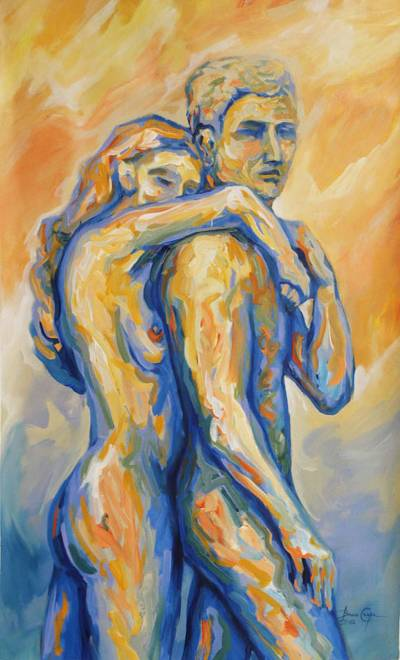 'Always Together' - Peru Fine Art Original Painting Nude Figure Study