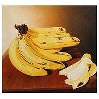 'Nude Delight' - Ripe Yellow Bananas Fine Art Original Painting Still Life