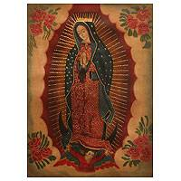 'Virgin of Guadalupe with Flowers' - Oil and Bronze Leaf on Canvas Religious Art