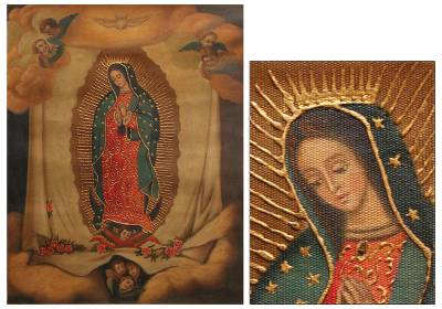 'Virgin of Guadalupe on the Cloak' - Oil and Bronze Leaf on Canvas Religious Art