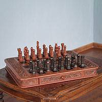 Mohena wood and leather chess set, 'Colonial Challenge'