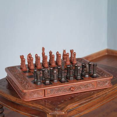 Mohena wood and leather chess set, 'Colonial Challenge' - Handcrafted Peruvian Wood Leather Chess Set