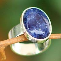 Sodalite cocktail ring, 'Encounter' - Handmade Jewelry Sterling Silver Cocktail Sodalite Ring