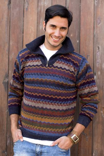 Men's 100% alpaca sweater, 'Mountain Life' - Men's 100% Alpaca Wool Striped Zip Collar Pullover Sweater