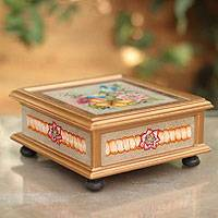 Painted glass box, 'Morning Garden Fanfare' - Reverse Painted Glass Jewelry Box