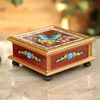 Painted glass box, 'Turquoise Butterfly' - Painted glass box