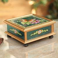 Painted glass box, 'Orange Butterfly' - Reverse Painted Glass Jewelry Box