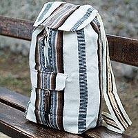 Alpaca blend backpack, 'Boho Stripes' - Handcrafted Peruvian Alpaca Backpack
