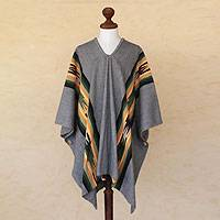 Men's alpaca blend poncho, 'Silver Skies' (Peru)