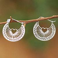 Sterling silver heart filigree earrings, 'Loving Energy' - Handcrafted Heart Shaped Sterling Silver Hoop Earrings