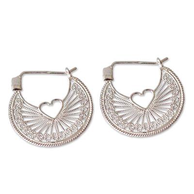Handcrafted Heart Shaped Sterling Silver Hoop Earrings