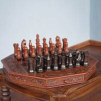 Mohena wood and leather chess set, 'Colonial Octagon' - Hand Carved Wooden Chess Set