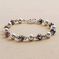 Sterling silver and ceramic link bracelet, 'Inca Princess' - Sterling silver and ceramic link bracelet