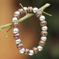 Sterling silver and ceramic beaded bracelet, 'Quechua Legacy' - Sterling Silver And Ceramic Bracelet from Peru