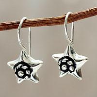 Sterling Silver Drop Earrings Andean Star (peru)