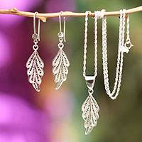 Sterling silver filigree jewelry set, 'Forest Magic' - Sterling silver filigree jewelry set
