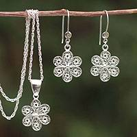 Sterling silver filigree jewelry set, 'Andean Wildflower' - Unique Filigree Earrings and Necklace Jewelry Set