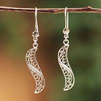 Sterling silver filigree earrings, 'Inclination' - Sterling silver filigree earrings