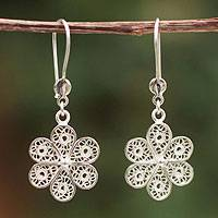 Sterling silver filigree earrings, 'Andean Wildflower' - Unique Floral Sterling Silver Filigree Earrings