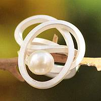 Cultured pearl cocktail ring, 'White Pearl Knot' - Modern Sterling Silver Pearl Cocktail Ring