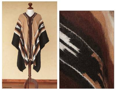 Men's 100% alpaca poncho, 'Earth Celebration' - Men's Fair Trade Alpaca Wool Poncho