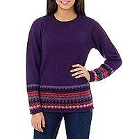 100% alpaca sweater, 'Inca Grape' - Hand Made Peruvian Alpaca Sweater