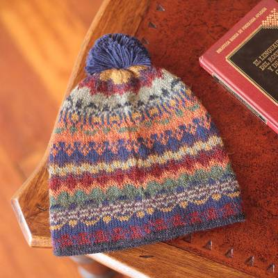 100% alpaca hat, 'Indigo Winter' - Handcrafted 100% Alpaca Wool Patterned Hat
