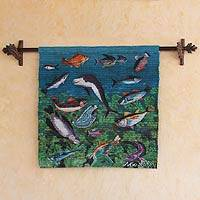 Wool tapestry, 'Sea Life' - Wool tapestry