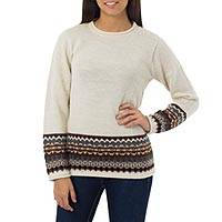 100% alpaca sweater, 'Inca Ivory' - Women's Alpaca Wool Sweater