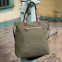 Cotton shoulder bag, 'Journey of Green' - Handcrafted Leather Accent Cotton Tote Handbag