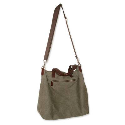 Handcrafted Leather Accent Cotton Tote Handbag