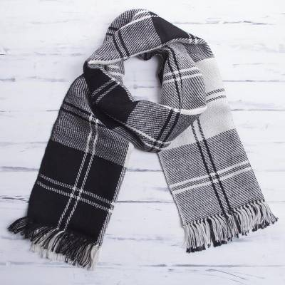 Mens 100% alpaca scarf, Classic Black and White