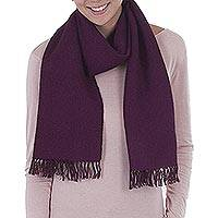 100% alpaca scarf, 'Grape' - Alpaca Wool Patterned Purple Scarf