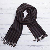 Men's 100% alpaca scarf, 'Winter Night' - Collectible Peruvian Alpaca Wool Scarf