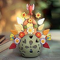 Ceramic candleholder, 'Light of Joy' - Fair Trade Ceramic Multicolor Tree of Life Candleholder