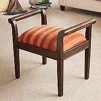 Mohena wood and wool backless chair, Andean Homeland - Mohena wood and wool backless chair