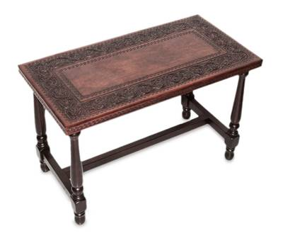 Wood Accent Table with Hand Tooled Leather Top