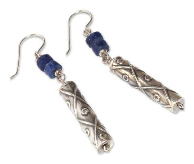 Fair Trade Sterling Silver and Sodalite Dangle Earrings