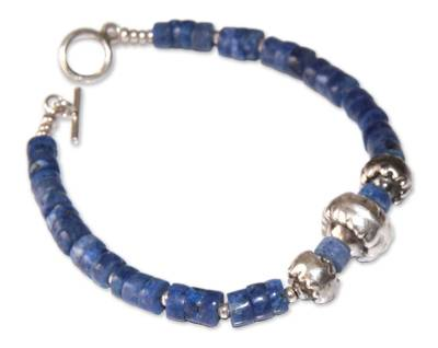 Sterling Silver and Sodalite Beaded Bracelet