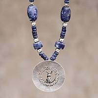 Sodalite pendant necklace, 'Chimu Ferret' - Sodalite pendant necklace