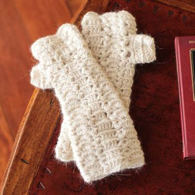 100% alpaca fingerless mitts, Ivory Fans