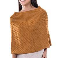 100% alpaca poncho, 'Antique Gold' - Fair Trade Alpaca Wool Poncho