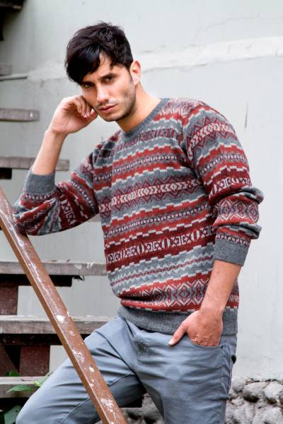 Mens 100% alpaca sweater, Ice Fire