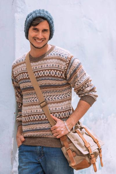 Mens 100% alpaca sweater, Ice Earth