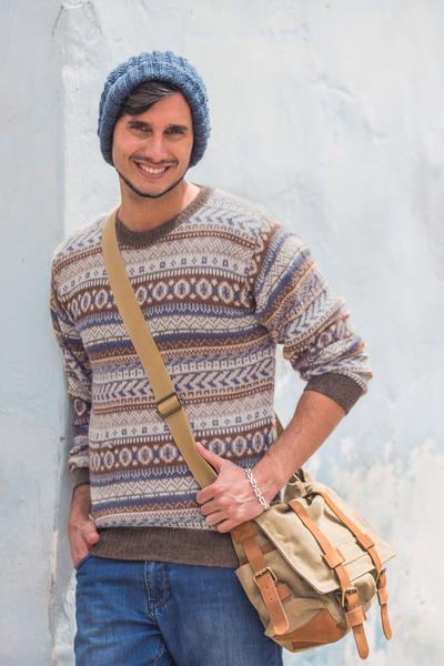 Men's 100% alpaca sweater, 'Ice Earth' - Men's Alpaca Pullover Sweater