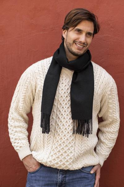 Men's 100% alpaca scarf, 'Evening Black' - Men's 100% alpaca scarf