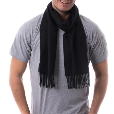 Men's 100% alpaca scarf, 'Evening Black' - Men's 100% alpaca scarf