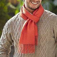 Men's 100% alpaca scarf, 'Sunset Orange' - Hand Crafted 100% Alpaca Wool Orange Scarf for Men from Peru